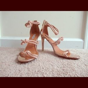 Shoes - Roped Rose Gold Heels